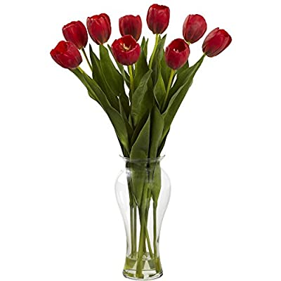 "Nearly Natural 1361-RD Tulips with Vase, 24-Inch, Red - 24"" high & 16"" wide Vibrant coloration Lush, delicate tulip blooms - vases, kitchen-dining-room-decor, kitchen-dining-room - 41%2BKWUSHoRL. SS400  -"