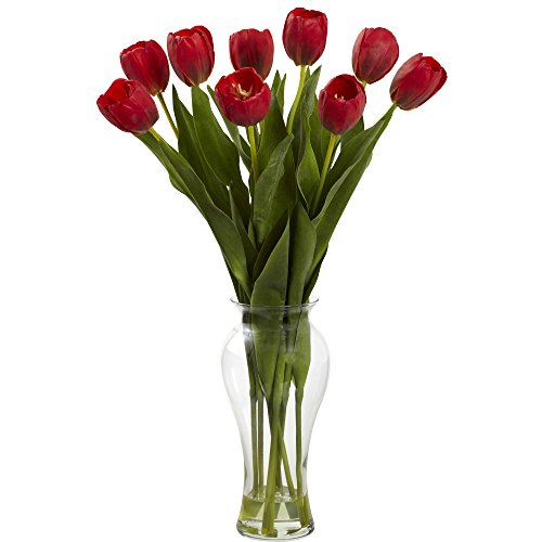 Tulip Floral Vase (Nearly Natural 1361-RD Tulips with Vase, 24-Inch, Red)
