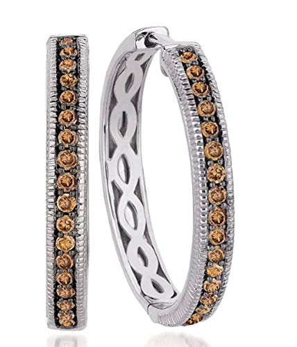 LeVian Hoops Earrings 5/8 ct Chocolate Diamonds 14k White Gold 1