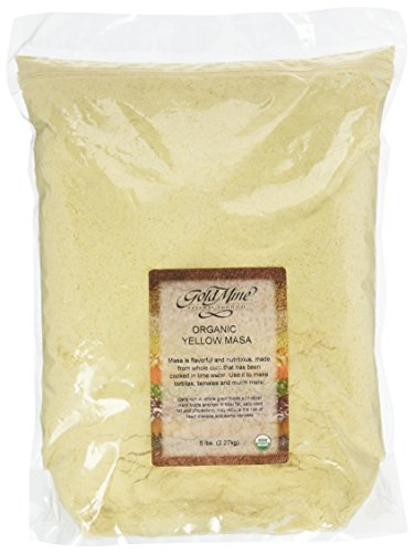 Gold Mine Yellow Corn Masa Harina - USDA Organic - Macrobiotic, Vegan, Kosher and Gluten Free Flour for Healthy Mexican Dishes – 5 LBS