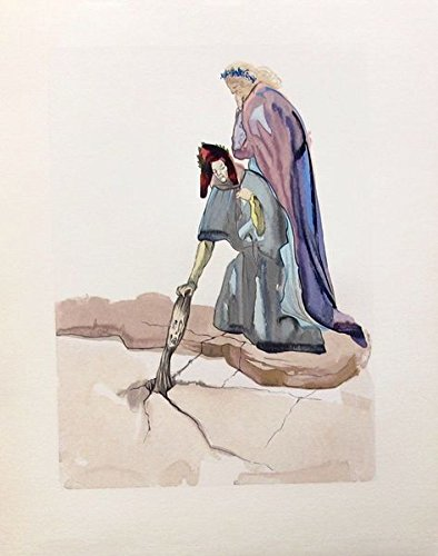 Wall Art by Salvador Dali 1960 Divine Comedy Inferno #32 Color Woodcut Wood Block Engraving Measurements 10 X 13 Inches