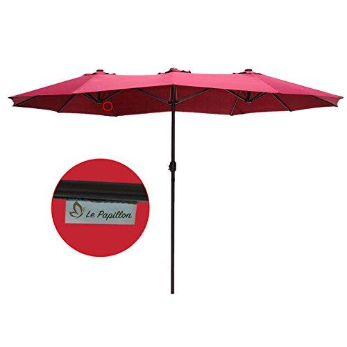 Le Papillon 14 Ft Market Outdoor Umbrella Double Sided Aluminum Table Patio  Umbrella With Crank, Burgundy   LPD148BN U003c Umbrellas U003c Patio, Lawn U0026 Garden    ...