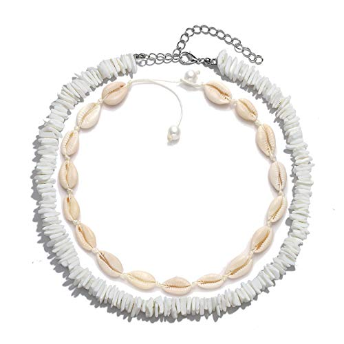 HSWE Shell Choker Necklace for Women Seashell Necklace Statement Adjustable Puka Shell Pendant Cord Bib Collar Necklace Bracelets Set Hawaiian Jewelry (Shell Necklace Set#1)