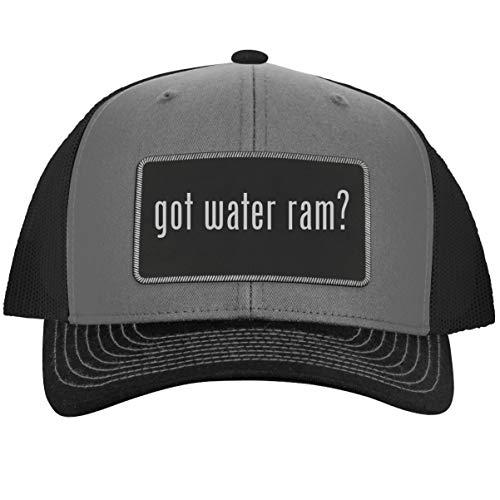 2001 Patch Block - got Water ram? - Leather Black Metallic Patch Engraved Trucker Hat, GreySteel, One Size