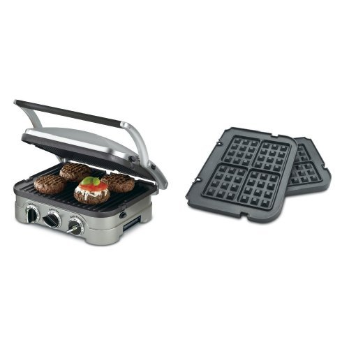 Cuisinart GR-4N 5-in-1 Silver Griddler, Black Dials, and Waffle Plates Bundle