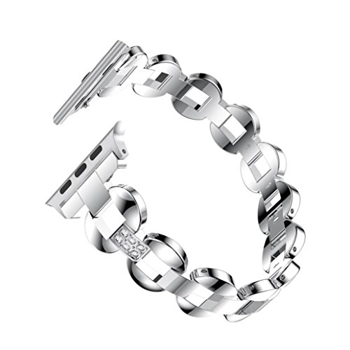 Alonea Alloy Crystal Link Bracelet Watch Band Strap For Apple Watch Series 3 38MM/42MM (42MM, D) (Link Crystal Watch Bracelet)