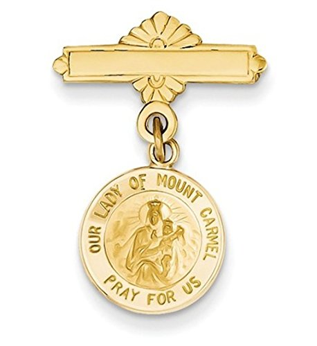 14k Yellow Gold Our Lady of Mount Carmel Medal Pin (25X22MM) ()