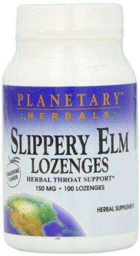 Planetary Herbals Slippery Elm Tangerine Lozenges,  Herbal Throat Support, 100 lozenge
