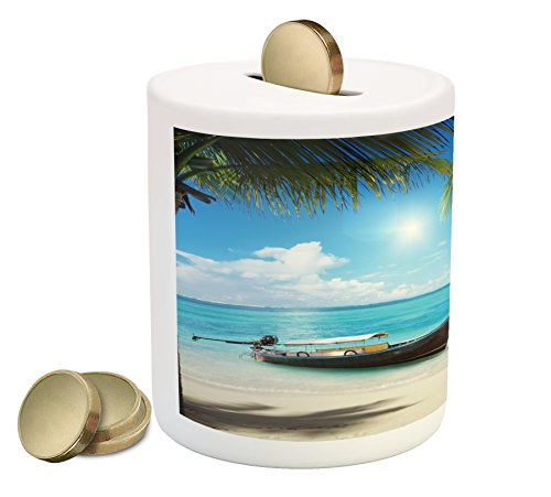 (Ambesonne Nautical Piggy Bank, Small Boat in The Atlantic Ocean Dominican Sunny Sea and Palm Trees Image, Printed Ceramic Coin Bank Money Box for Cash Saving, Aqua Coconut Green)