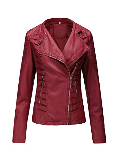 Bellivera Women's Faux Leather Jackets for Women Leather Coat for Spring Casual Short Jacket