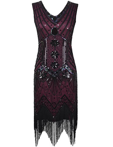 PrettyGuide Women 1920s V Neck Beaded Sequin Art Deco Gatsby Inspired Flapper Dress M/8-10 Burgundy (Twenties Dress)