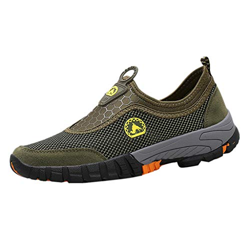 iHPH7 Sneaker Low Top Lace Up Running Outdoor Mesh Mountaineering Sports Shoes Run Breathable Shoes Sneakers Men (43,Army Green)