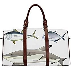 "Ocean Animal Decor College Travel Bag,Various Fish Predators with Swordfish Piranha Chordate Aquatic Image for Gym,20.8""L x 12""W x 9.8""H"