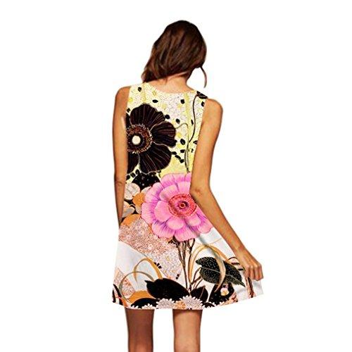 la mangas falda elegante trapecio boho impresa noche redondo elegante informal mini vestido vestido suelta verano amarillo de por cuello sin Adeshop vintage BXfZUwq
