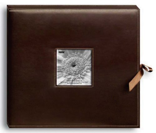 (Pioneer D-Ring Sewn Leatherette Album Box 13x14.5-Brown)