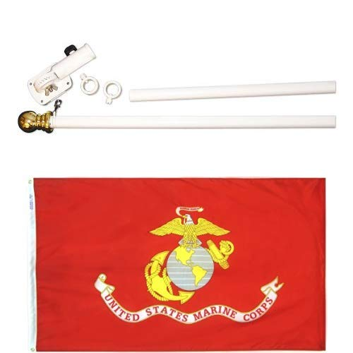 ft. Nyl-Glo U.S. Marine Corps Military Flag and 6 ft. 2 Section Spinning Pole Mounting Set ()