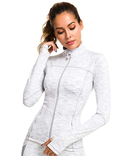 QUEENIEKE Womens Sports Jacket Turtleneck Slim Fit Full-Zip Running Top Size M Color White Space Dye (Sports Athletic Jacket)