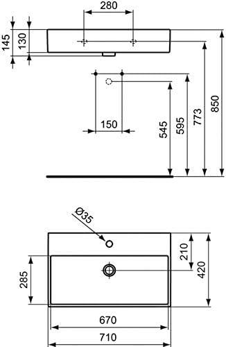 Lavabo Strada Design LAVABO/_STRADA Id/éal Standard 71 x 42 cm