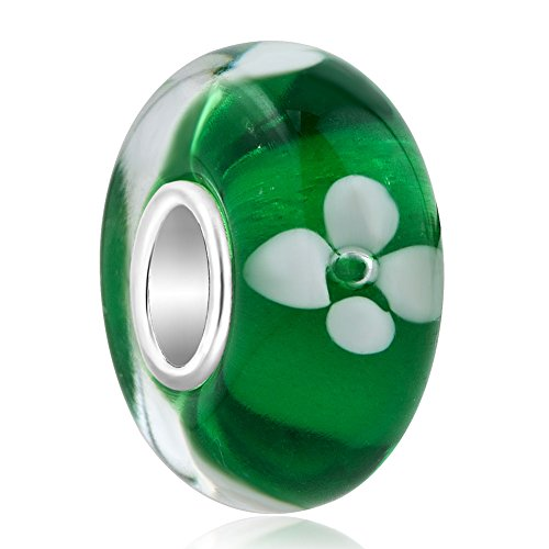 ReisJewelry Flower Lampwork Murano Glass Beads Spacer Charm with 925 Sterling Silver Core for Bracelets (Green)