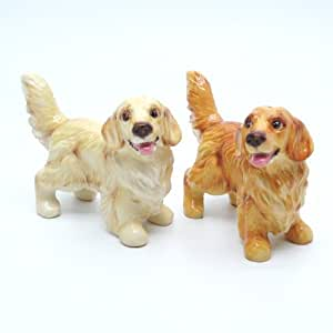 Golden Retriever Dog Ceramic Figurine Salt Pepper Shaker C00003 Ceramic Handmade Dog Lover Gift Collectible Home Decor Art and Crafts