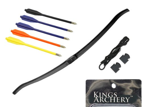 KingsArchery® Crossbow Limb 50 lbs Fiberglass Bow Replacement for Hunting Crossbow + Pack of 50 lb Crossbow String and Caps + Pack of 12-Piece Plastic Arrows Set in Assorted Colors for Hunting Crossbow + KingsArchery® Warranty