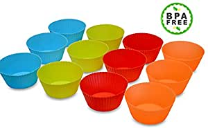 TexCups Texas Size Large JUMBO Silicone Cupcake Liners Muffin Baking Cups Soap Mold Set of 12