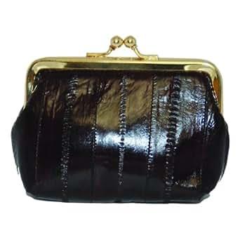 Eel skin Leather Coin Purse Snap Closure #E905