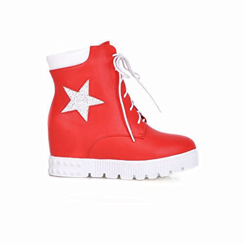 Lace Popular Fashion Heel Womens Shaped Red up Sneakers Print Wedge Carolbar Fashion Star 6qwY4naO