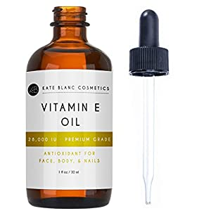 Vitamin E Oil by Kate Blanc. Moisturizes Face and Skin. 100% Pure, Extra Strength. 28,000 IU, Premium Grade, Antioxidants. Reduce Appearance of Scars, Wrinkles, Dark Spots. Free eBook w Recipes (1 oz)