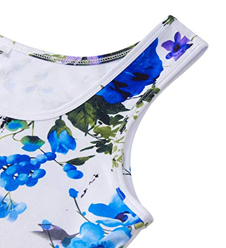 Sleeveless Dresses A Line 3D Blue Holiday Midi Floral Print Fanient Womens Halloween Dress Flared Tank wxYg4HFHq