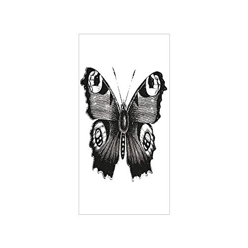 3D Decorative Film Privacy Window Film No Glue,Black and White Decorations,Vanessa Peacock Butterfly Vintage Wildlife Nature Artwork Decorative,Black White,for Home&Office]()