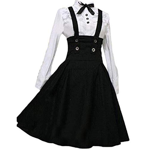 Loli Miss Womens Sweet Lolita Dress A Line High Waist Brace Skirt Set Customize Black ()