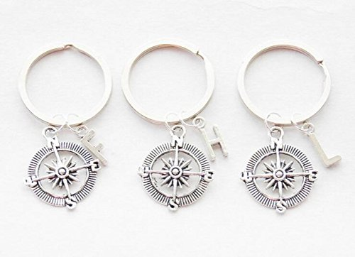 (3 Best Friend Compass Keychains Set of Three Keychains BFF Keychains Compass Keyrings Friendship jewelry Personalized monogram Accessories)
