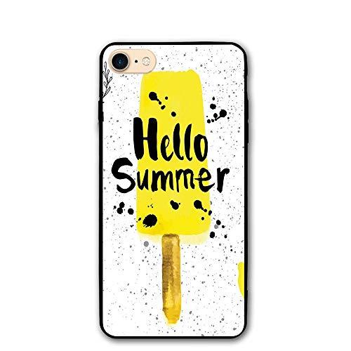 (Haixia IPhone 7/8 Protective Case Cover 4.7 Inch Ice Cream Decor Hello Summer Phrase Lemon Flavor Icon Watercolor Splashes Decorative Yellow Black White)