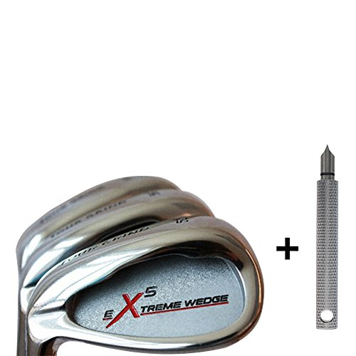 Left Handed Extreme X5 Senior Ladies Golf Wedge Set: 52° Gap Wedge (GW), 56° Sand Wedge (SW), 60° Lob (LW) Ladies Flex Premium Tacki-Mac Arthritic Ladies Golf Grip + Free Wedge Groove Sharpener-Silver by Extreme X5