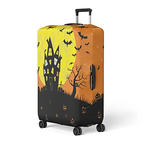 Pinbeam Luggage Cover Animal Happy Halloween Haunted House Full Moon Bat Travel Suitcase Cover Protector Baggage Case Fits 18-22 -