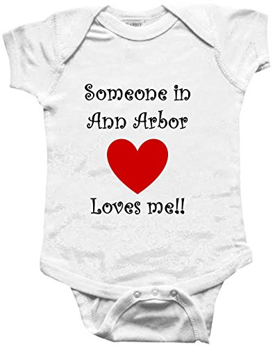 SOMEONE IN ANN ARBOR LOVES ME - ANN ARBOR BABY - City Series - White Baby One Piece Bodysuit - size Small (City Ann Arbor)