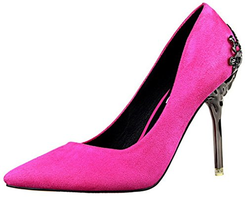 CAMSSOO Women's Elegant Pointed Toe Metal Stiletto Heel Pumps Shoes for Work Place Wedding Rose Suede 7.5 US M
