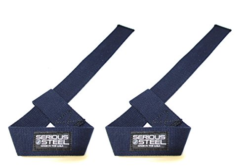 Serious Steel Heavy-Duty Lifting Straps   Choose: Adjustable Weightlifting Straps or Speed Straps in Blue or White   Made in U.S.A   Cotton Weightlifting Straps & Powerlifting Straps   Sold as Pair!