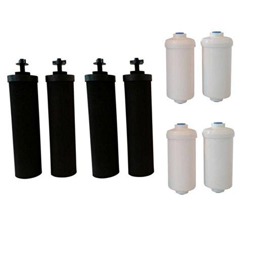 Four Black Berkey (BB9) Replacement Filters & Four Berkey Fluoride Soda water Filters (PF2)