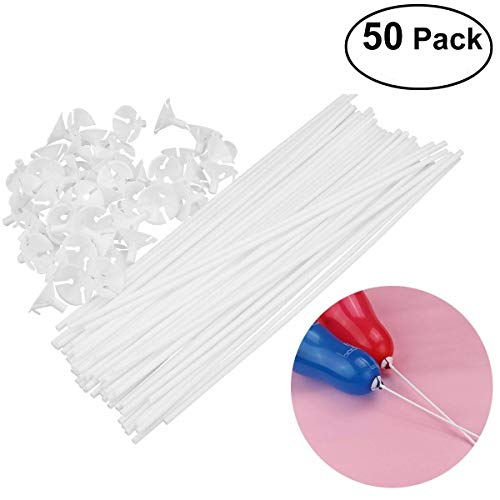 Helium Balloon Cost (Tinksky 50pcs Child Safety Balloon Cup with Stick)