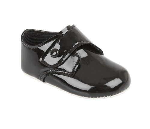 Black Patent Shoes for Baby Boy 0-3 Months 3.5'' Insole by Bay Pods UK