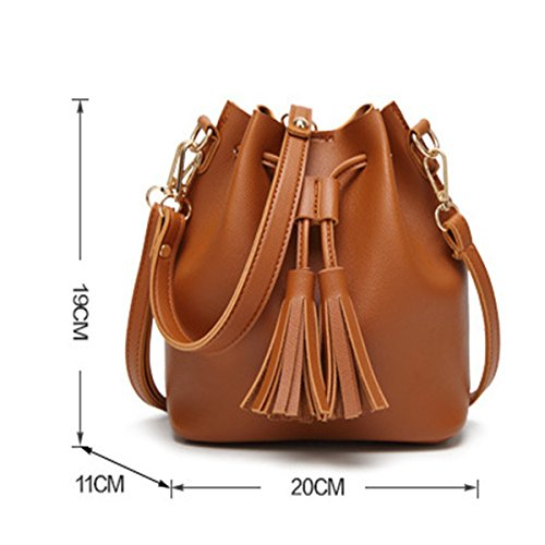Brown Tassel Leather PU for A Micom Girls Fashion Women Shoulder Messenger with Handbags Bag OSvRqfw