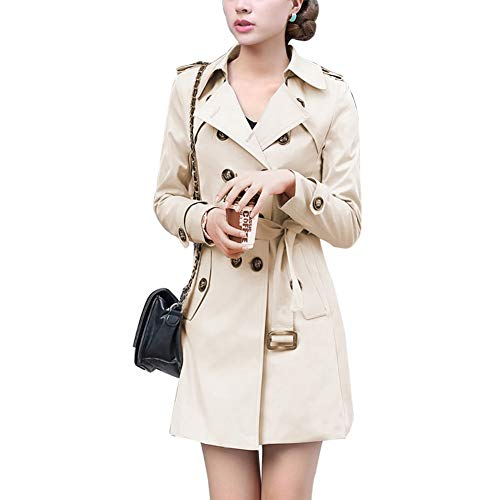 Mogra Womens Fashion Double Breasted Pocket Outwear Trench Jacket Coat Khaki - Breasted Double Coat Military