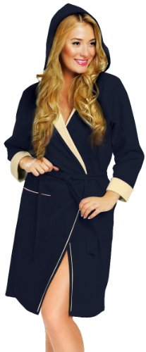 Italian Fashion IF Bata para Mujer Comfort Azul Oscuro/Ecru