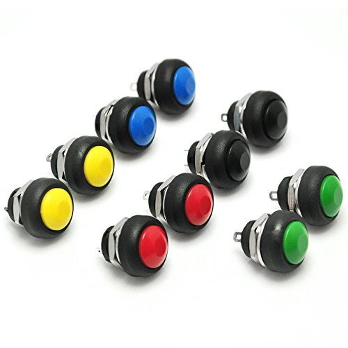 Push Button Electrical Switches - Gikfun 12mm Waterproof Push Button Momentary On Off Switch 5 Colors DIY Kit for Arduino (Pack of 10pcs) EK1925