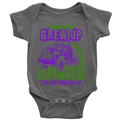 Lucky Ones Till Do Baby Bodysuit, Playing With Tractors Cute Baby Bodysuit (6M, Baby Bodysuit - Dark Gray)]()