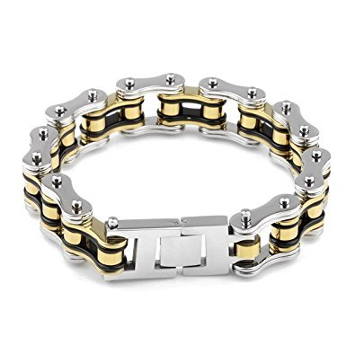- LEADCIN Stainless Steel Mens Bracelet Bike Chain Wide Motorcycle Heavy Bangle Man Jewelry (yellow-silver)