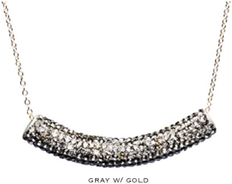 Gemelli Pave Bar Necklace in Gray Pave