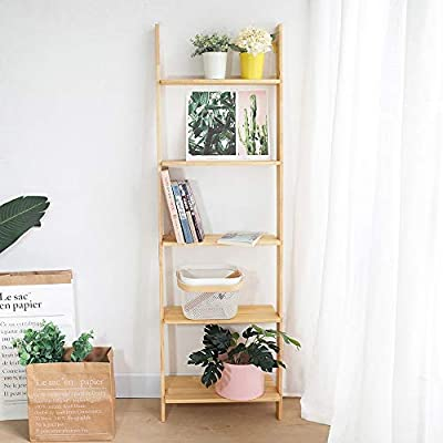 Estante Para Libros 5-Shelf Escala de madera estantería con marco de Nivel Biblioteca Estante escalera apoyada Para Sala De Estar Dormitorio Cocina (Color : Amarillo , tamaño : 160x50cm) : Amazon.es: Hogar